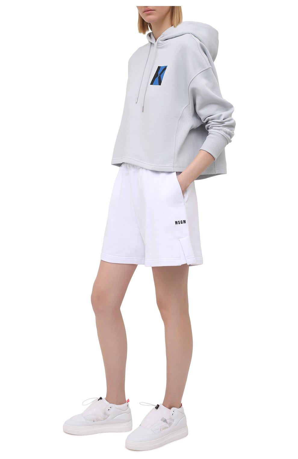 Женские хлопковые шорты MSGM белого цвета, арт. 3041MDB60 217299   Фото 2