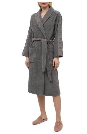 Женский хлопковый халат CALVIN KLEIN серого цвета, арт. EW1159E | Фото 2