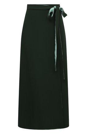 Женская шелковая юбка VALENTINO темно-зеленого цвета, арт. VB3RA7751MM | Фото 1
