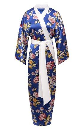 Женский шелковый халат OLIVIA VON HALLE синего цвета, арт. SS2157 | Фото 1