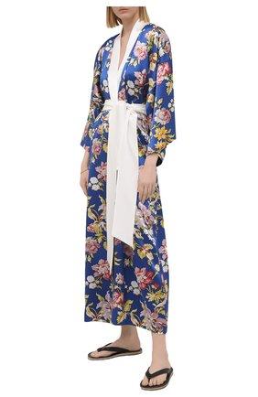 Женский шелковый халат OLIVIA VON HALLE синего цвета, арт. SS2157 | Фото 2