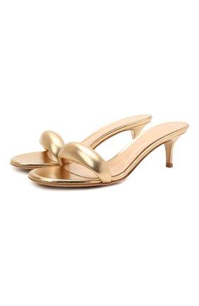 Женские кожаные мюли bijoux 55 GIANVITO ROSSI золотого цвета, арт. G18380.55RIC.NPSMEK0   Фото 1 (Материал внутренний: Натуральная кожа; Подошва: Плоская; Каблук высота: Средний; Каблук тип: Шпилька)
