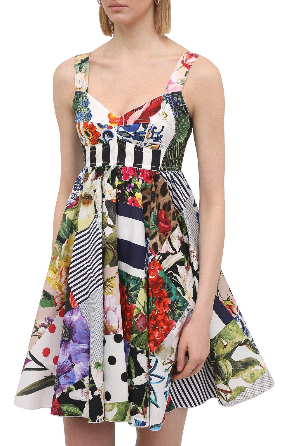 Женское хлопковое платье DOLCE & GABBANA разноцветного цвета, арт. F6P0MT/GDY45 | Фото 3