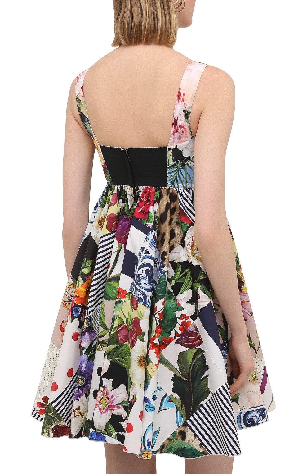 Женское хлопковое платье DOLCE & GABBANA разноцветного цвета, арт. F6P0MT/GDY45 | Фото 4