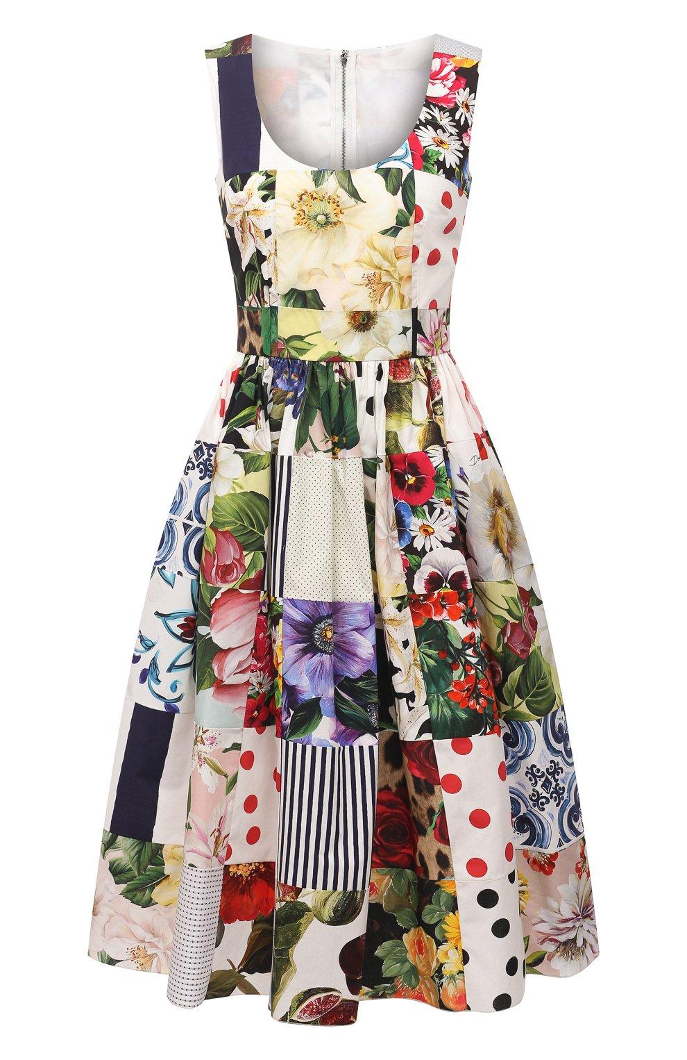 Женское хлопковое платье DOLCE & GABBANA разноцветного цвета, арт. F6N0BT/GDY45 | Фото 1