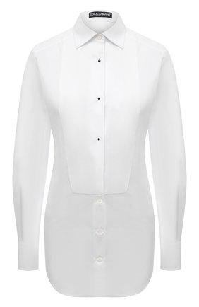 Женская хлопковая рубашка DOLCE & GABBANA белого цвета, арт. F5045T/FU5K9 | Фото 1