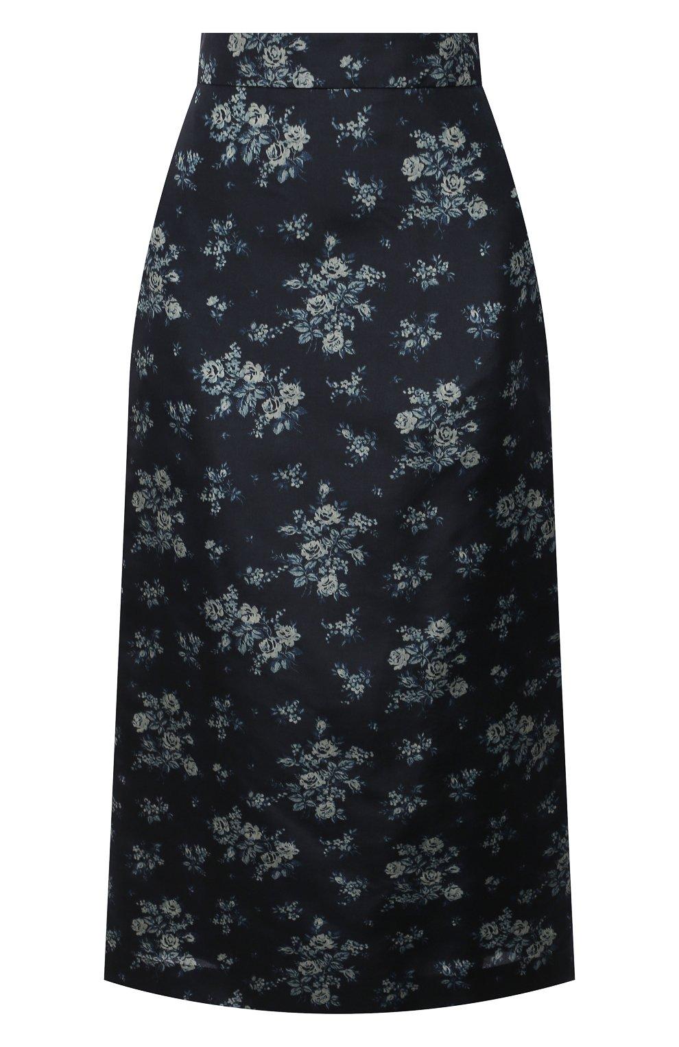 Женская шелковая юбка BROCK COLLECTION темно-синего цвета, арт. BRPS35009A/BS072 | Фото 1 (Материал внешний: Шелк; Женское Кросс-КТ: Юбка-одежда; Длина Ж (юбки, платья, шорты): Миди; Материал подклада: Вискоза; Стили: Романтичный)