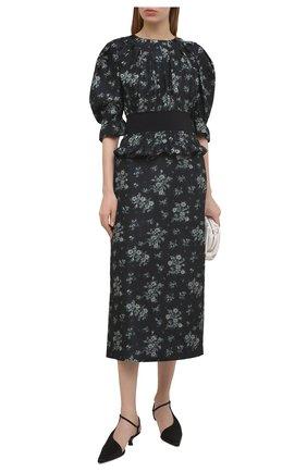 Женская шелковая юбка BROCK COLLECTION темно-синего цвета, арт. BRPS35009A/BS072 | Фото 2 (Материал внешний: Шелк; Женское Кросс-КТ: Юбка-одежда; Длина Ж (юбки, платья, шорты): Миди; Материал подклада: Вискоза; Стили: Романтичный)