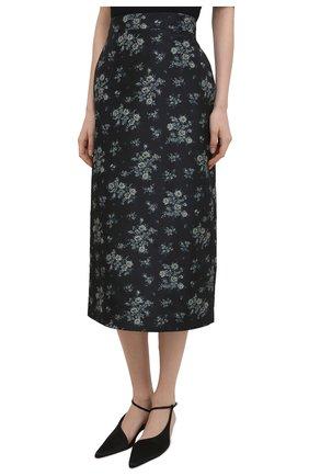 Женская шелковая юбка BROCK COLLECTION темно-синего цвета, арт. BRPS35009A/BS072 | Фото 3 (Материал внешний: Шелк; Женское Кросс-КТ: Юбка-одежда; Длина Ж (юбки, платья, шорты): Миди; Материал подклада: Вискоза; Стили: Романтичный)