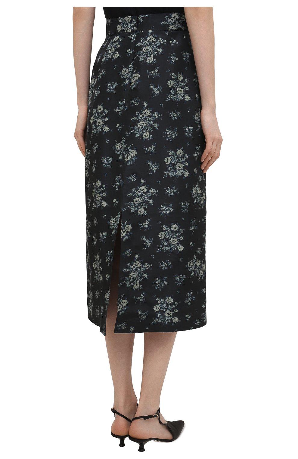 Женская шелковая юбка BROCK COLLECTION темно-синего цвета, арт. BRPS35009A/BS072 | Фото 4 (Материал внешний: Шелк; Женское Кросс-КТ: Юбка-одежда; Длина Ж (юбки, платья, шорты): Миди; Материал подклада: Вискоза; Стили: Романтичный)