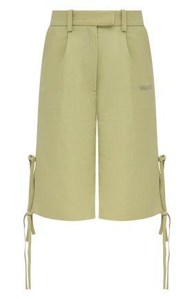 Женские кожаные шорты OFF-WHITE зеленого цвета, арт. 0WJB018S21LEA001 | Фото 1