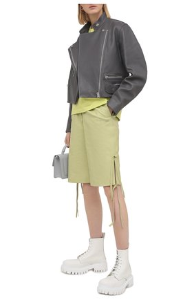 Женские кожаные шорты OFF-WHITE зеленого цвета, арт. 0WJB018S21LEA001 | Фото 2