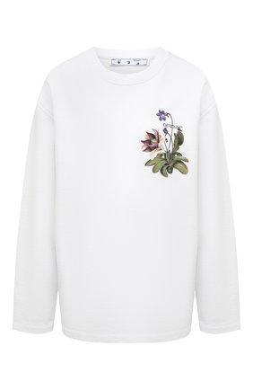 Женский хлопковый свитшот OFF-WHITE белого цвета, арт. 0WBA062S21JER003 | Фото 1