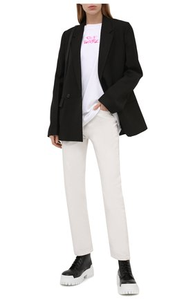Женская хлопковая футболка OFF-WHITE белого цвета, арт. 0WAA091S21JER001 | Фото 2