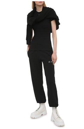 Женская хлопковая футболка OFF-WHITE черного цвета, арт. 0WAA065S21JER001 | Фото 2