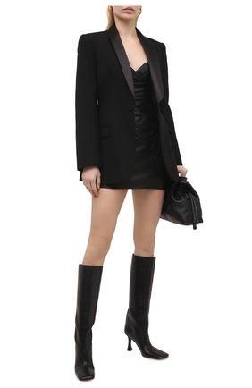 Женское кожаное платье BALMAIN черного цвета, арт. VF16076/L062 | Фото 2