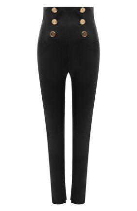 Женские кожаные брюки BALMAIN черного цвета, арт. VF15887/L067 | Фото 1