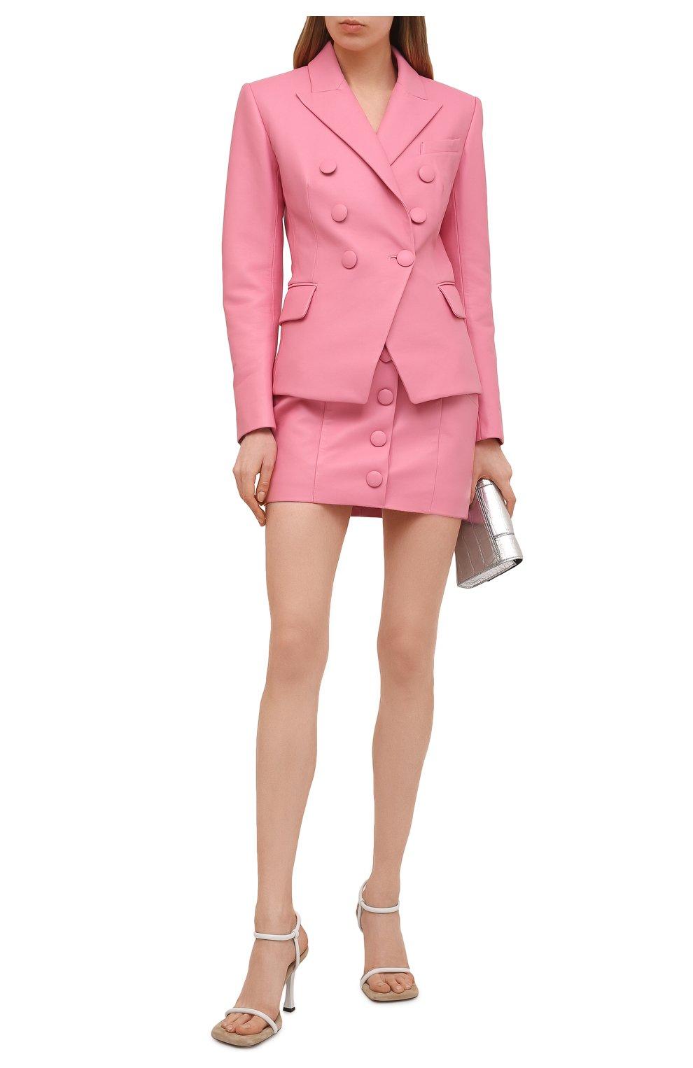 Женская кожаная юбка BALMAIN розового цвета, арт. VF14086/L062 | Фото 2