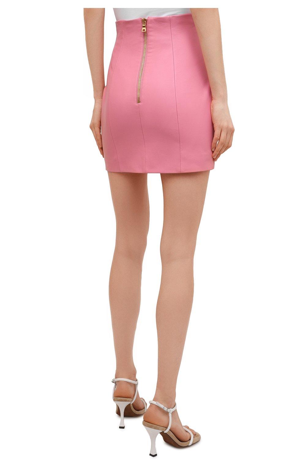 Женская кожаная юбка BALMAIN розового цвета, арт. VF14086/L062 | Фото 4