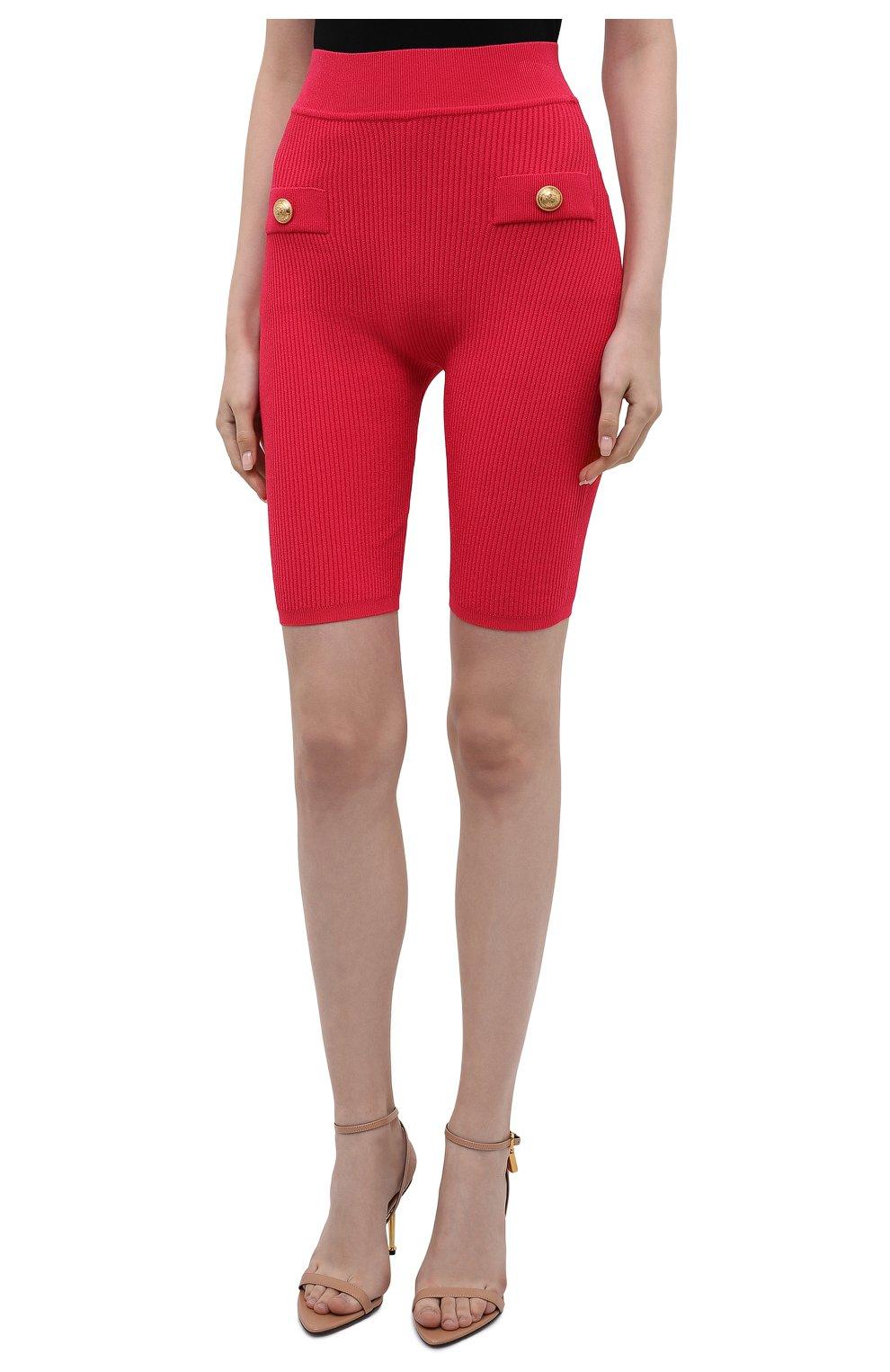 Женские шорты из вискозы BALMAIN фуксия цвета, арт. VF0PB015/K211   Фото 3
