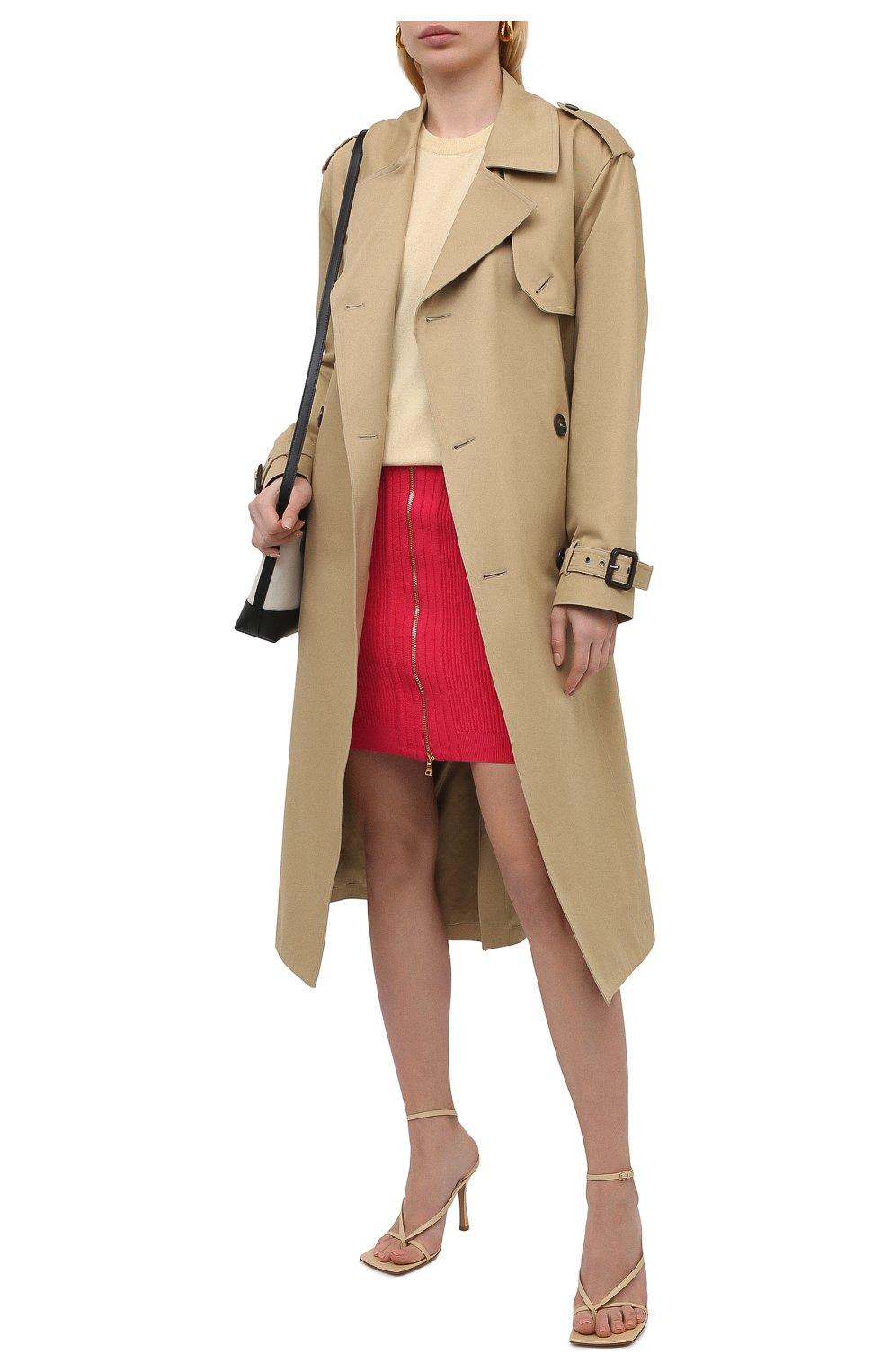 Женская юбка из вискозы BALMAIN фуксия цвета, арт. VF0LB010/K211   Фото 2