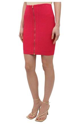 Женская юбка из вискозы BALMAIN фуксия цвета, арт. VF0LB010/K211   Фото 3