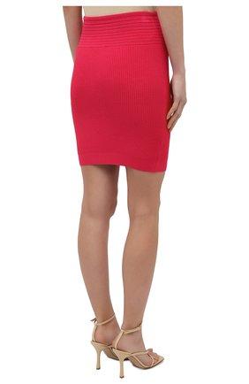 Женская юбка из вискозы BALMAIN фуксия цвета, арт. VF0LB010/K211   Фото 4