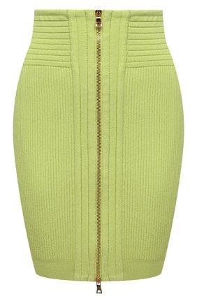 Женская юбка из вискозы BALMAIN салатового цвета, арт. VF0LB010/K211   Фото 1