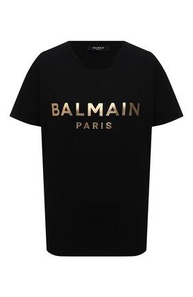Женская хлопковая футболка BALMAIN черного цвета, арт. VF0EF000/B020 | Фото 1