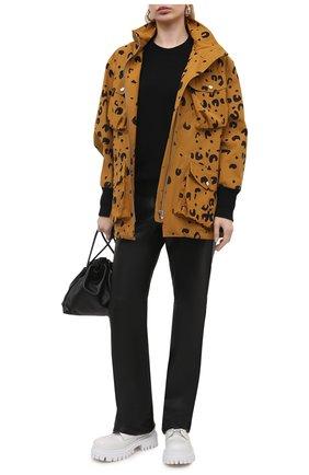 Женская хлопковая куртка KENZO коричневого цвета, арт. FB520U0749PB   Фото 2 (Стили: Спорт-шик; Материал внешний: Хлопок; Кросс-КТ: Куртка; Рукава: Длинные; Длина (верхняя одежда): До середины бедра)