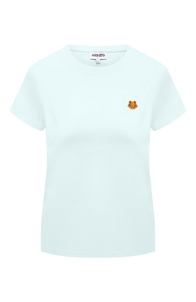 Женская хлопковая футболка KENZO светло-голубого цвета, арт. FB52TS8434SA | Фото 1