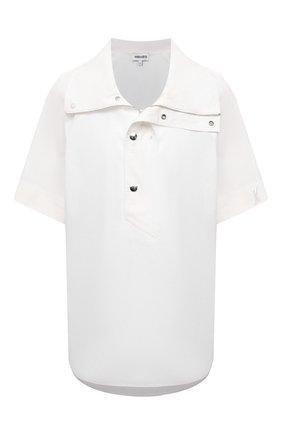 Женская хлопковая рубашка KENZO белого цвета, арт. FB52T01899CW | Фото 1 (Принт: Без принта; Стили: Кэжуэл; Рукава: Короткие; Женское Кросс-КТ: Рубашка-одежда; Длина (для топов): Стандартные; Материал внешний: Хлопок)