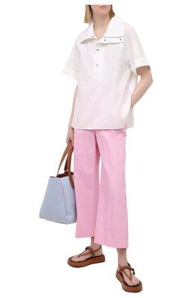 Женская хлопковая рубашка KENZO белого цвета, арт. FB52T01899CW | Фото 2 (Принт: Без принта; Стили: Кэжуэл; Рукава: Короткие; Женское Кросс-КТ: Рубашка-одежда; Длина (для топов): Стандартные; Материал внешний: Хлопок)