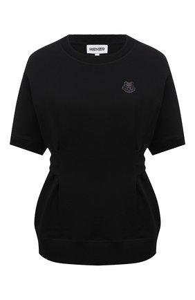 Женский хлопковый свитшот KENZO черного цвета, арт. FB52SW6154ML | Фото 1 (Стили: Спорт-шик; Материал внешний: Хлопок; Длина (для топов): Стандартные; Женское Кросс-КТ: Свитшот-одежда; Рукава: Короткие)