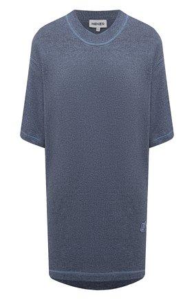 Женское платье из шерсти и хлопка KENZO голубого цвета, арт. FB52R05543AB   Фото 1