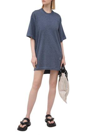 Женское платье из шерсти и хлопка KENZO голубого цвета, арт. FB52R05543AB | Фото 2 (Женское Кросс-КТ: Платье-одежда; Стили: Кэжуэл; Материал внешний: Шерсть, Хлопок; Рукава: 3/4; Длина Ж (юбки, платья, шорты): Мини; Случай: Повседневный)