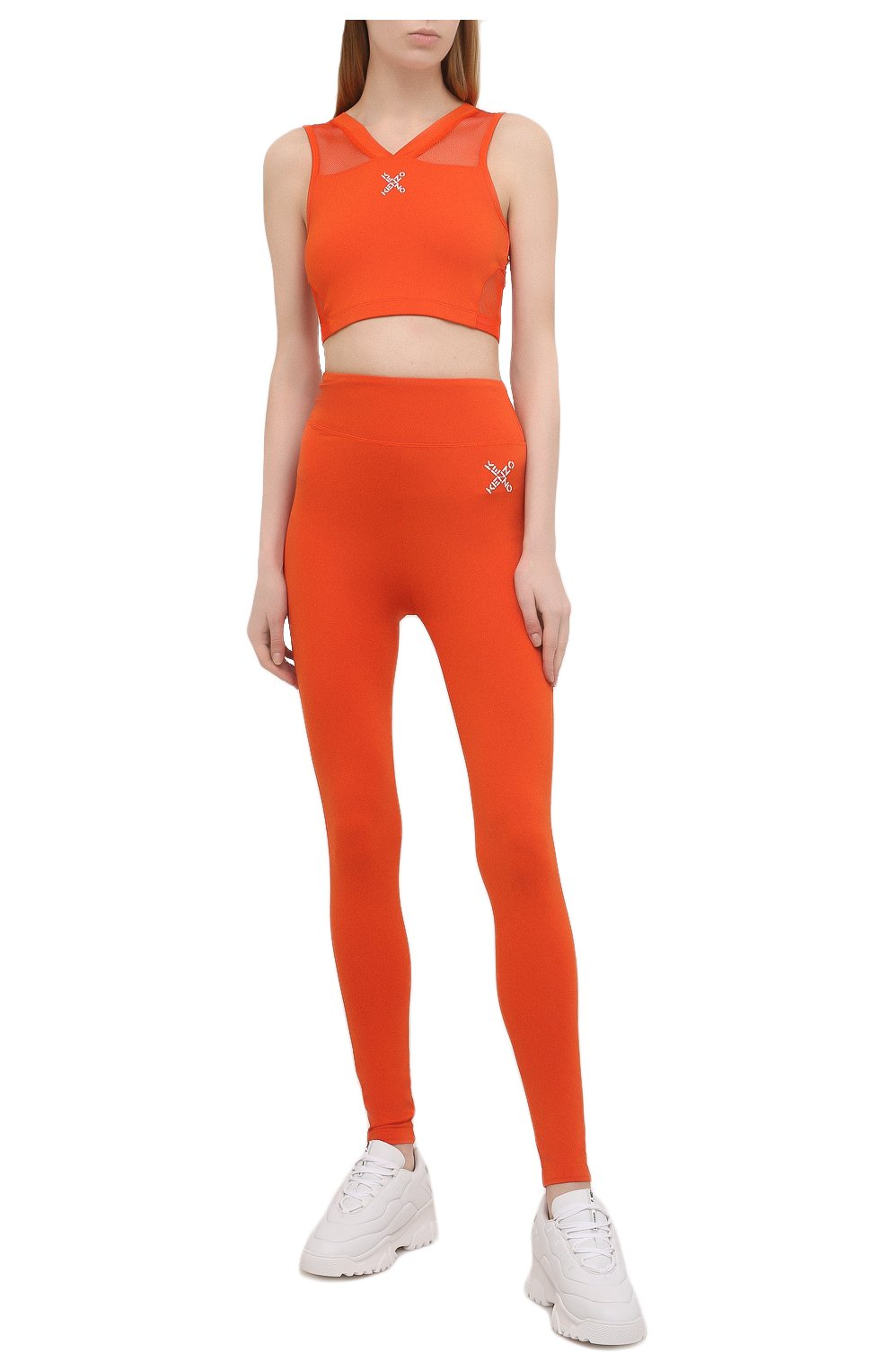 Женские леггинсы kenzo sport KENZO оранжевого цвета, арт. FA62PA7294SC   Фото 2 (Длина (брюки, джинсы): Стандартные; Материал внешний: Синтетический материал; Стили: Спорт-шик; Женское Кросс-КТ: Леггинсы-спорт)