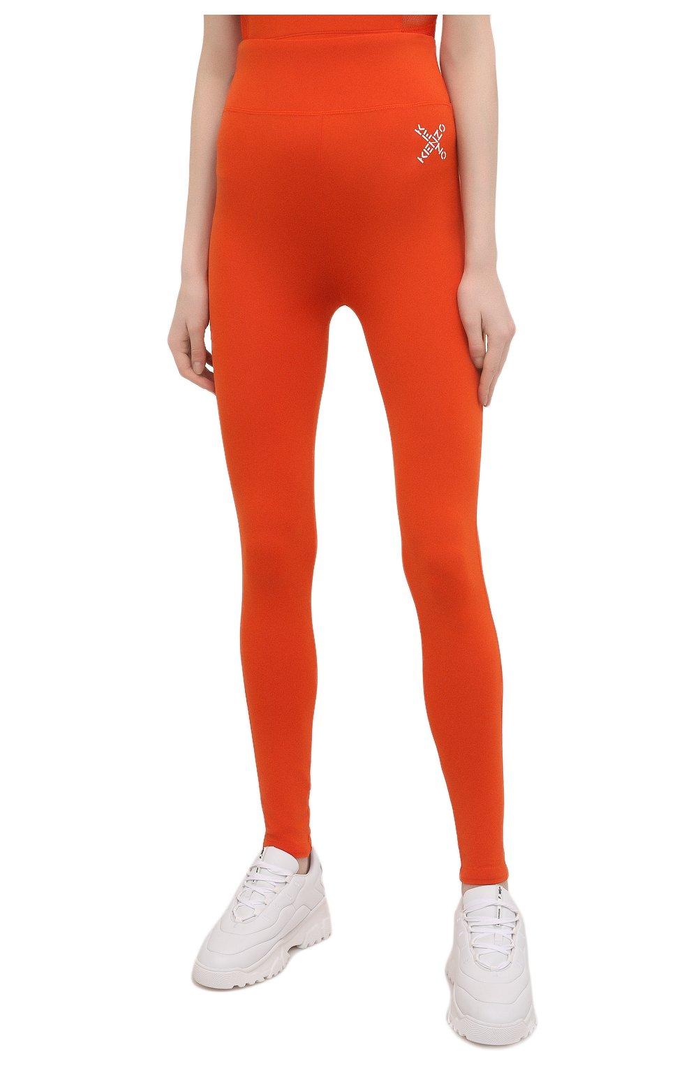 Женские леггинсы kenzo sport KENZO оранжевого цвета, арт. FA62PA7294SC   Фото 3 (Длина (брюки, джинсы): Стандартные; Материал внешний: Синтетический материал; Стили: Спорт-шик; Женское Кросс-КТ: Леггинсы-спорт)