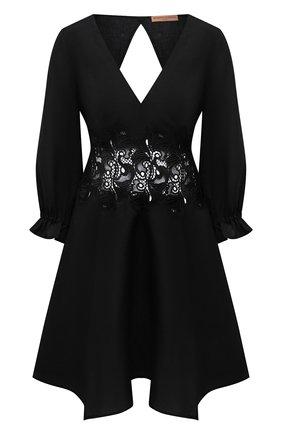 Женское льняное платье ERMANNO SCERVINO черного цвета, арт. D384Q311LBJ | Фото 1