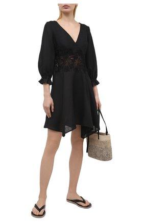 Женское льняное платье ERMANNO SCERVINO черного цвета, арт. D384Q311LBJ | Фото 2