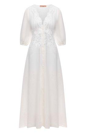 Женское льняное платье ERMANNO SCERVINO белого цвета, арт. D384K317LBJ | Фото 1