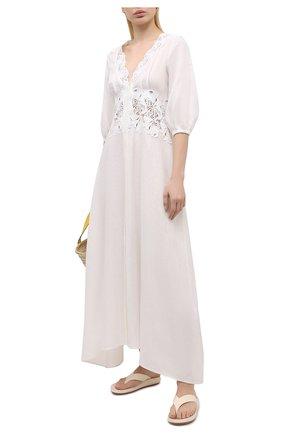 Женское льняное платье ERMANNO SCERVINO белого цвета, арт. D384K317LBJ | Фото 2