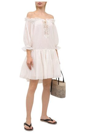 Женское хлопковое платье ERMANNO SCERVINO белого цвета, арт. D384K305MUL | Фото 2