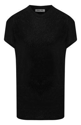 Женская льняная футболка MAX&MOI черного цвета, арт. PERTAIWAN | Фото 1