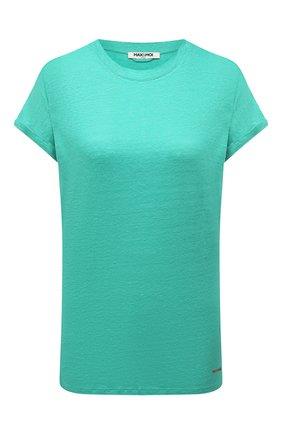 Женская льняная футболка MAX&MOI бирюзового цвета, арт. PERTAIWAN | Фото 1