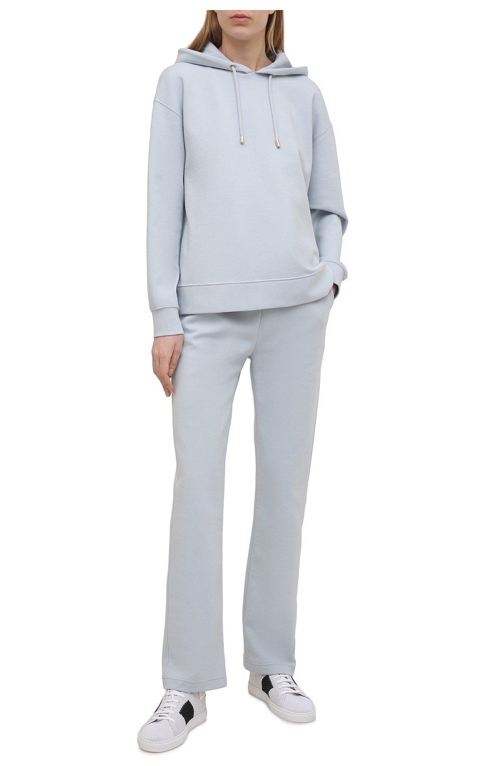Женские хлопковые брюки GIORGIO ARMANI голубого цвета, арт. 3KAP55/AJZGZ | Фото 2