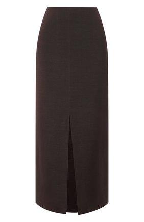 Женская юбка из шерсти и шелка VALENTINO темно-коричневого цвета, арт. VB0RA7N76BS | Фото 1 (Материал подклада: Вискоза; Женское Кросс-КТ: Юбка-одежда; Стили: Гламурный; Длина Ж (юбки, платья, шорты): Миди; Материал внешний: Шерсть)