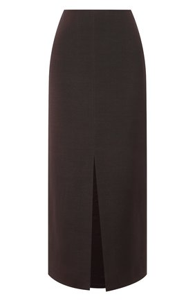 Женская юбка из шерсти и шелка VALENTINO темно-коричневого цвета, арт. VB0RA7N76BS | Фото 1