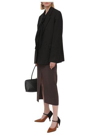 Женская юбка из шерсти и шелка VALENTINO темно-коричневого цвета, арт. VB0RA7N76BS   Фото 2
