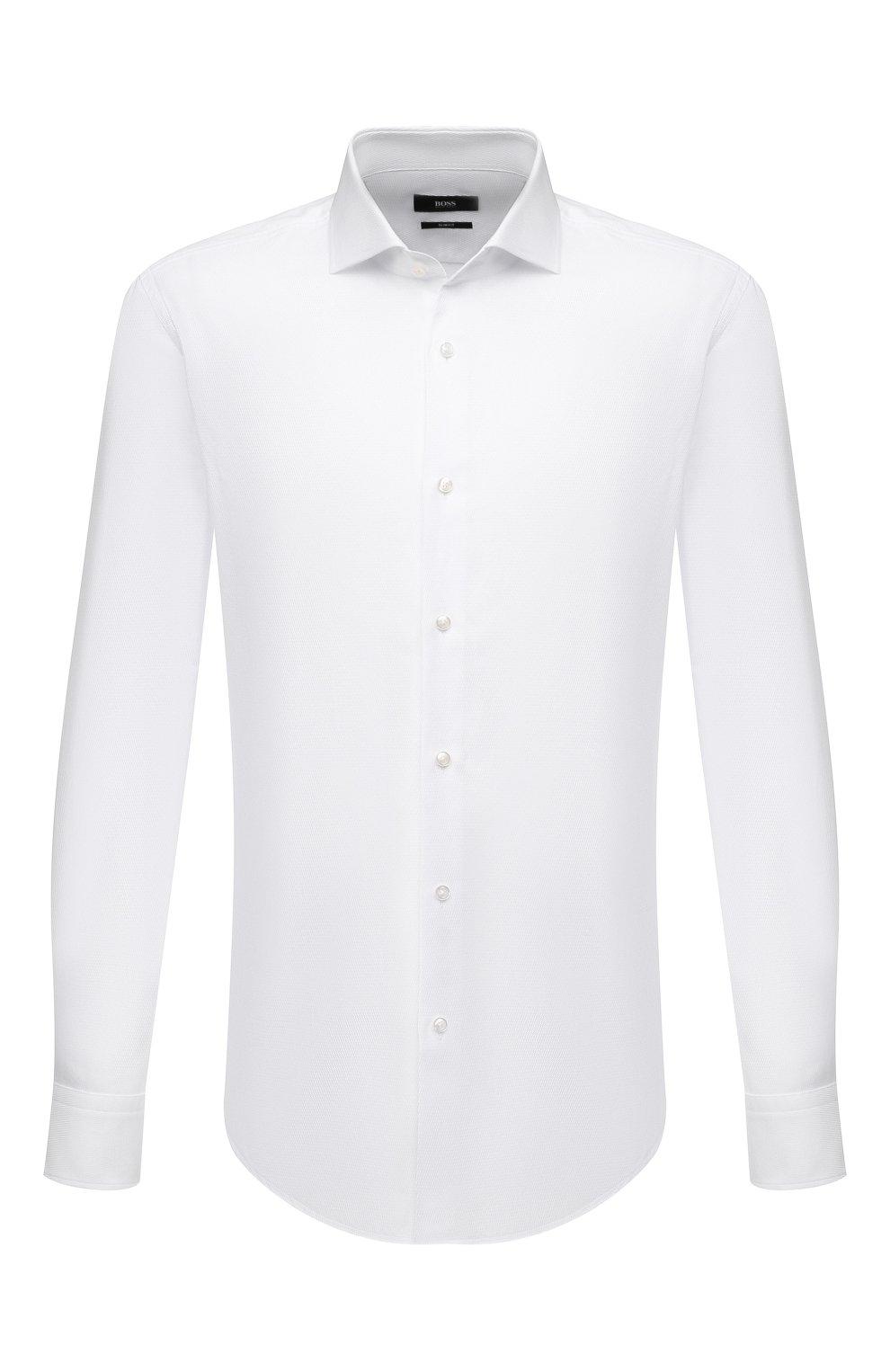 Мужская хлопковая сорочка BOSS белого цвета, арт. 50450603   Фото 1
